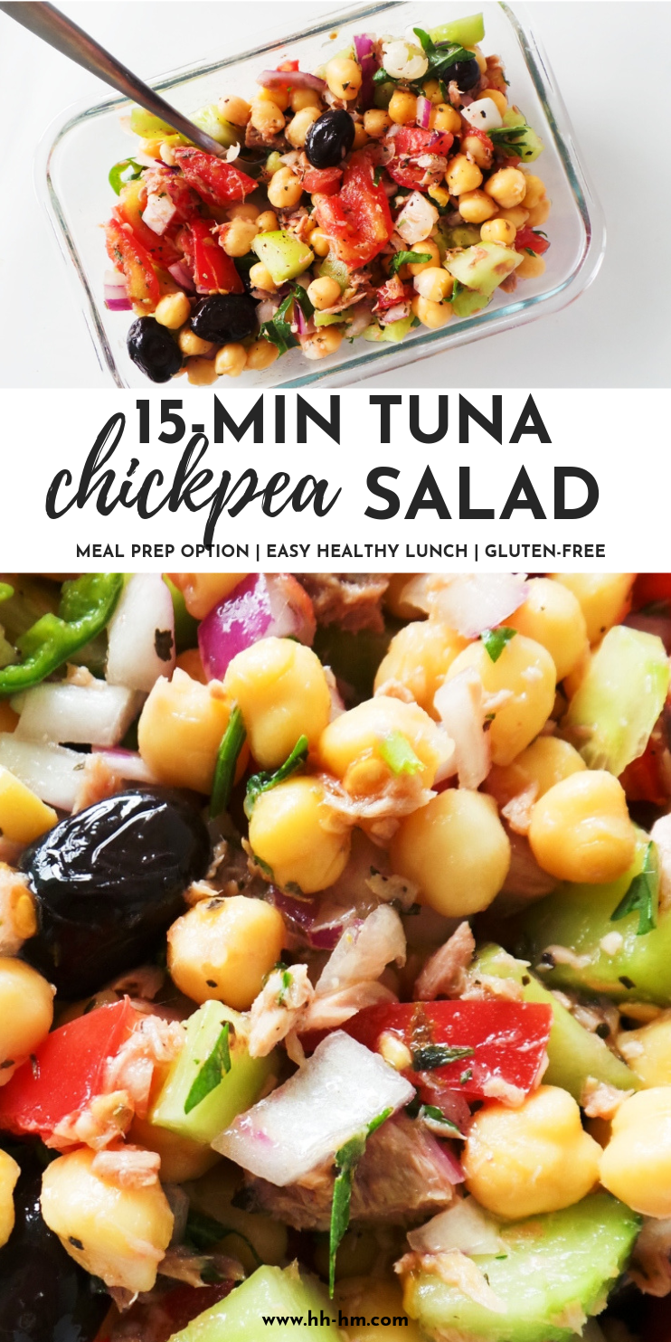 Chickpea and tuna salad recipe coming with an easy meal prep option! This easy and healthy salad is perfect for summer, as a healthy lunch or an easy dinner. With fresh tomatoes, cucumbers, olives, tuna, chickpeas and herbs this salad is refreshing, filling and filled with Mediterranean flavors. #salad #mealprep #healthy #dinner #lunch