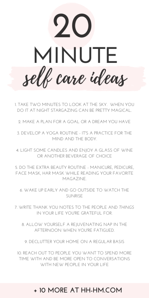 20 self care tips and ideas for a quick self care routine! Self care isn't reserved for Sunday only, with these ideas you can make time for a little bit of self care every day!