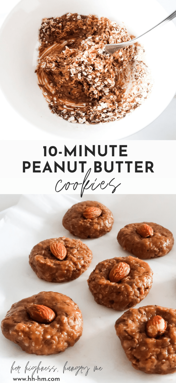 Easy healthy peanut butter cookies that you'll love! These homemade no-bake cookies are made with oatmeal and peanut butter, are flourless, delicious and made in one bowl within 10 minutes. If you love peanut butter and sweet peanut butter based healthy snacks - these are for you!