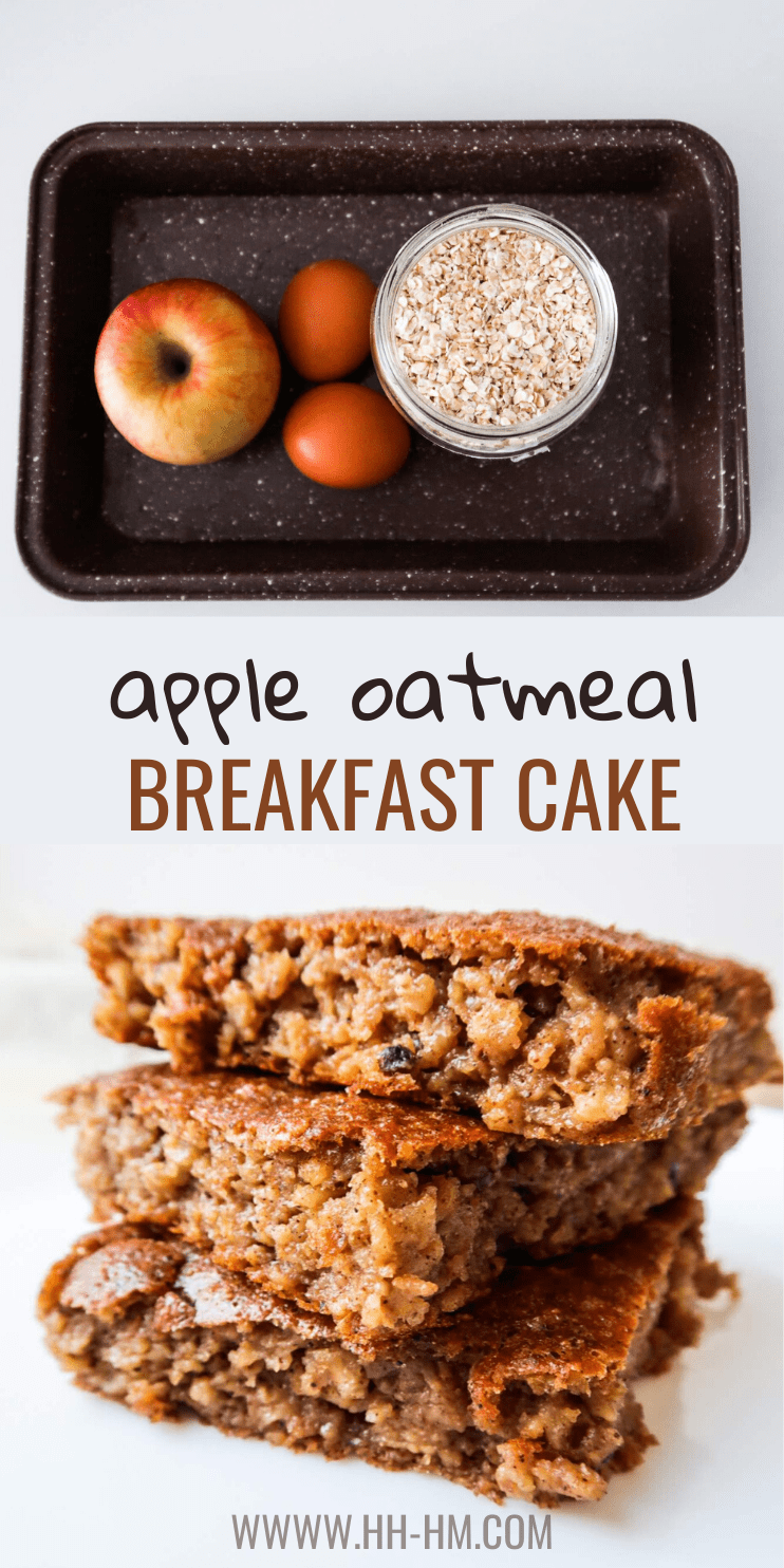 Healthy apple oatmeal breakfast cake! This healthy apple cake is delicious and super easy to make - it's kinda like a baked oatmeal recipe, but better. This healthy easy breakfast recipe is delicious and you don't need a ton of ingredients.