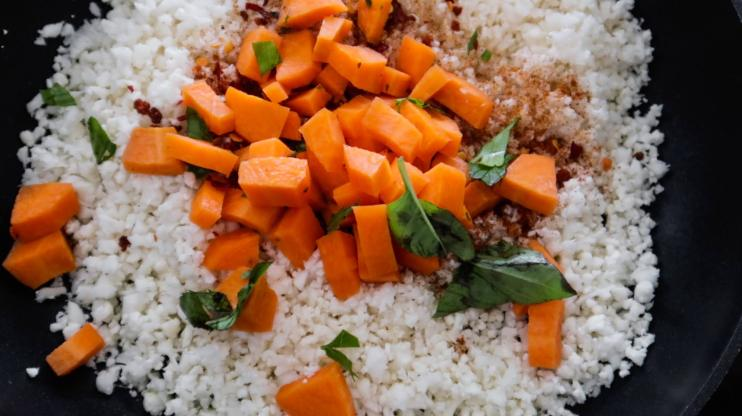 Step 3: Add the carrots to your cauliflower rice