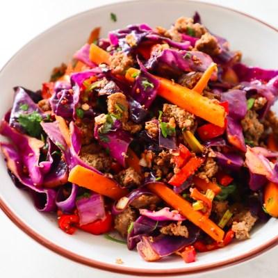 Healthy Ground Beef Cabbage Stir-Fry