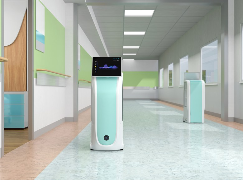 Medical delivery robots moving in hospital. Infection prevention concept. 3D rendering image.