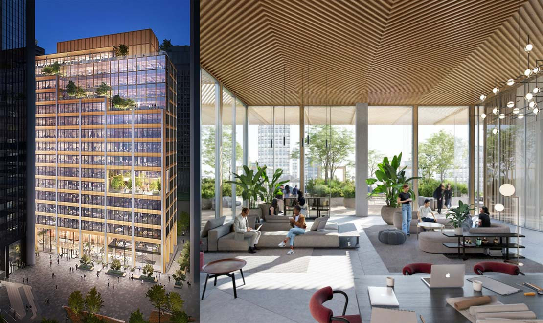 Exterior and interior rendering of  the Burrard Exchange, Bentall Centre