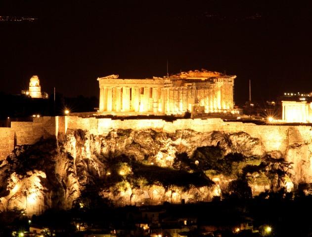 landmark of athens greece parthenon at night