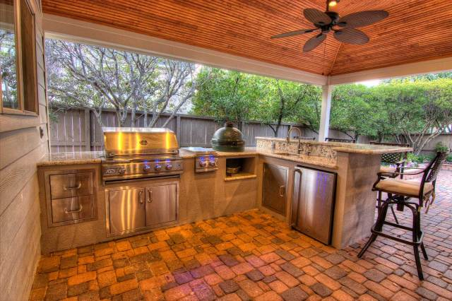 tongue and grove patio cover plus outdoor kitchen - hhi patio covers