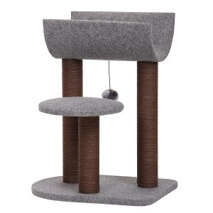This tree features 2 different plush perch styles with a top cradle perch for your cat to play or rest. Perches are supported by handmade paper rope scratching posts for your cats to dig into. The idea of the cradle is to help keep your cat snugged safely up top for their nap time. It's also perfect for multiple cats playing hide and seek!