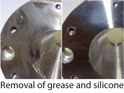 Removal of grease and silicone