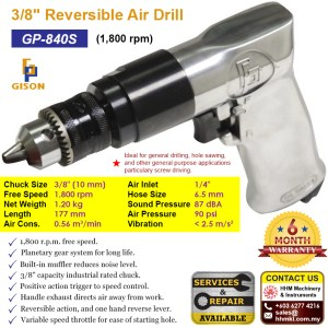 3/8″ Reversible Air Drill (1800 rpm) GP-840S