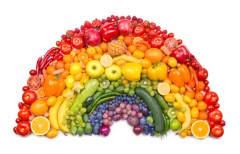 variety of fruits and vegetables arranged by color to resemble a rainbow