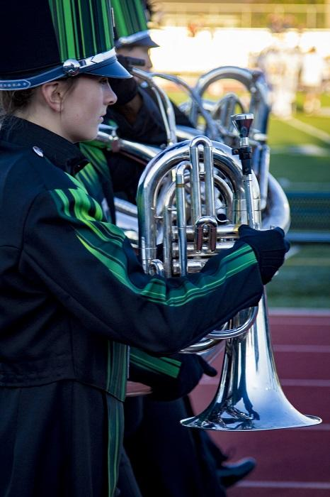 Freshman+baritone+Shannon+Guthrie-Johnson+performs+with+the+marching+band+during+the+pre-game+show.