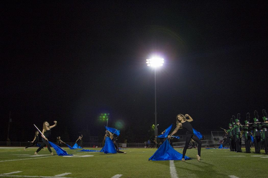 The+Colorguard+performs+during+the+halftime+show.%0A