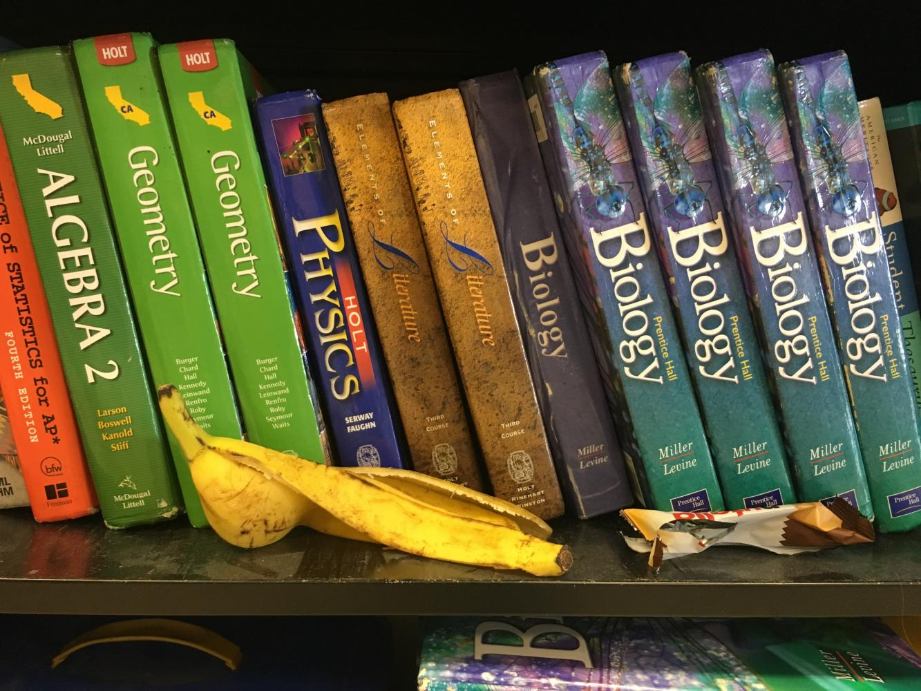 A half-eaten rotten banana is among one of the many old food items librarians have found