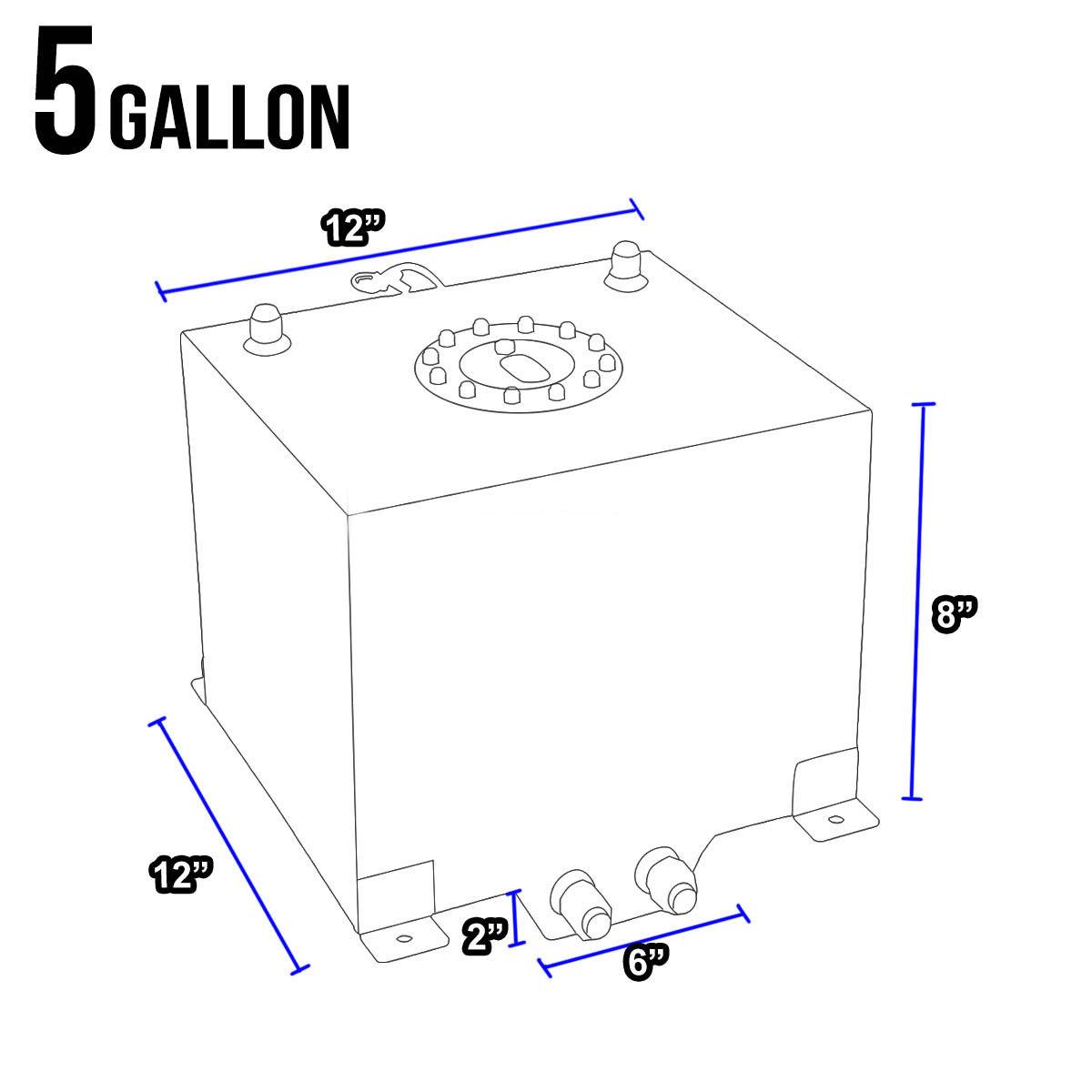 5 Gallon 19l Polished Aluminum Race Drift Fuel Cell Tank