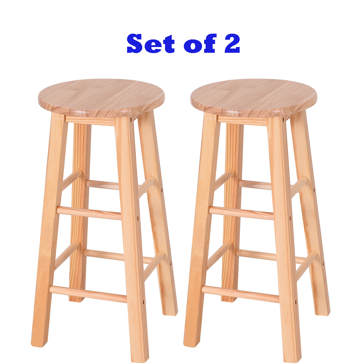 Set Of 2 Wood Counter Stools Bar Stools Dining Kitchen