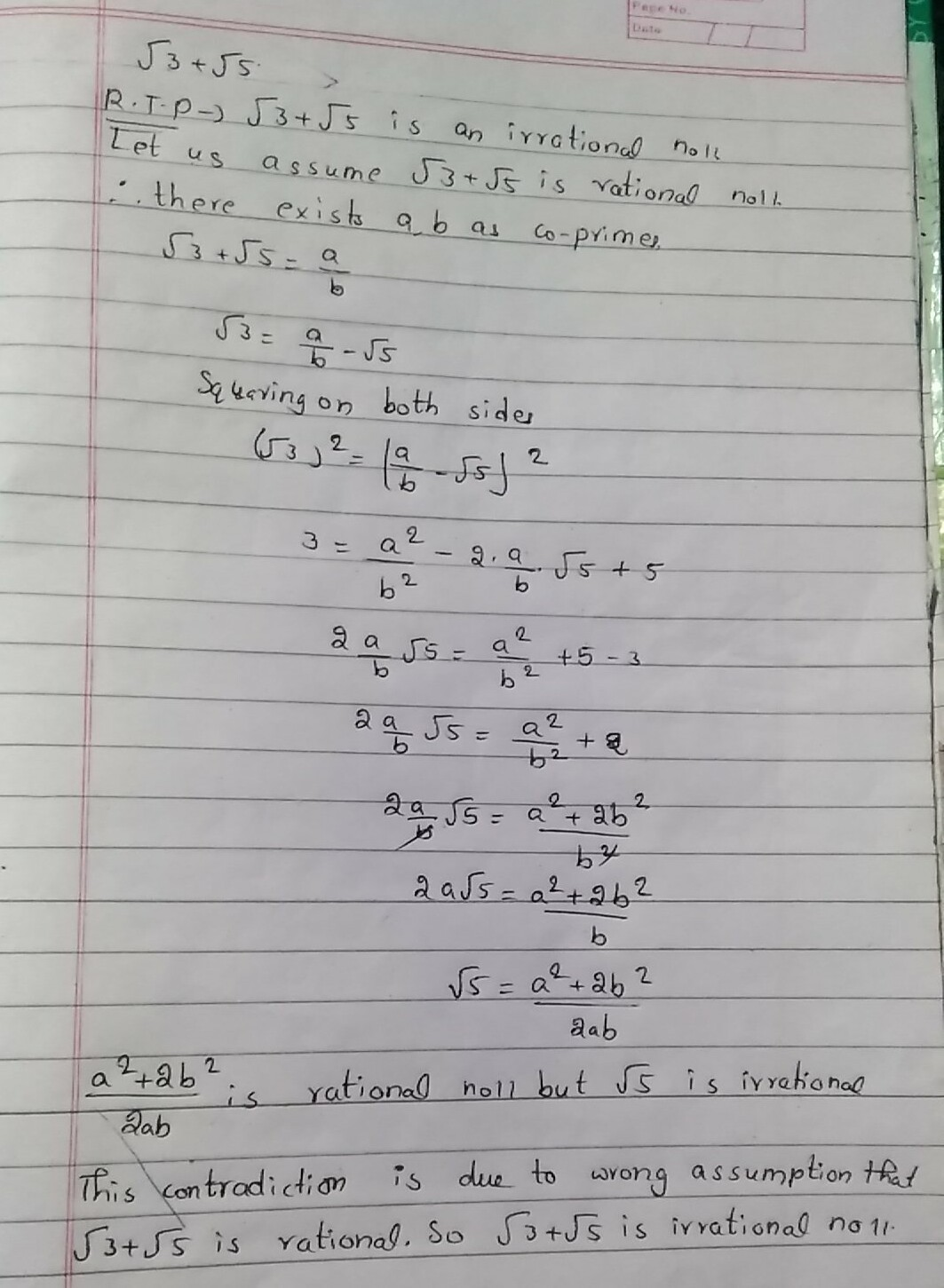 Prove That Root 3 Root5 Whole Square Is An Irrational