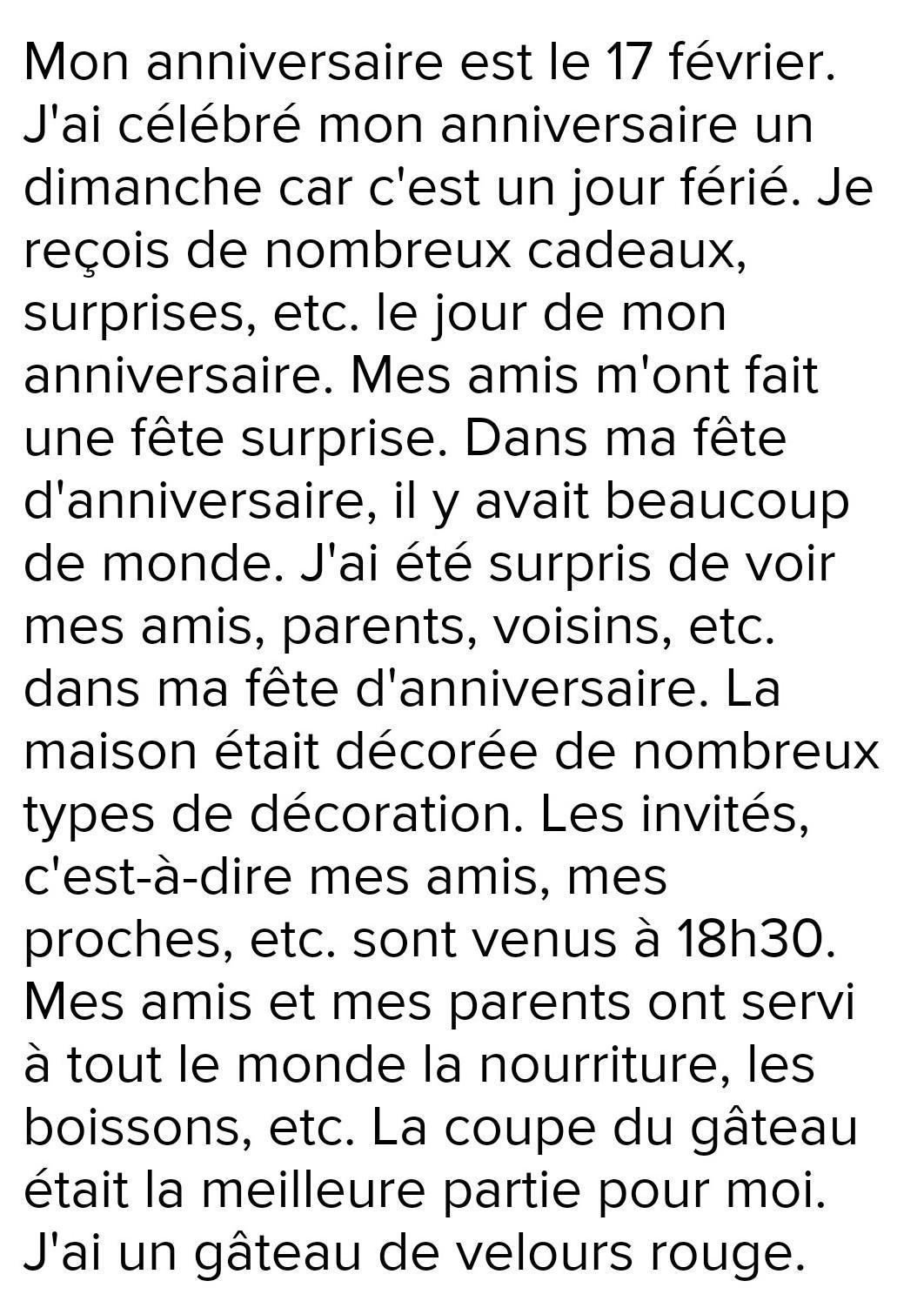 Essay On My Birthday In French What Do I Write About My Birthday In French Brainly In