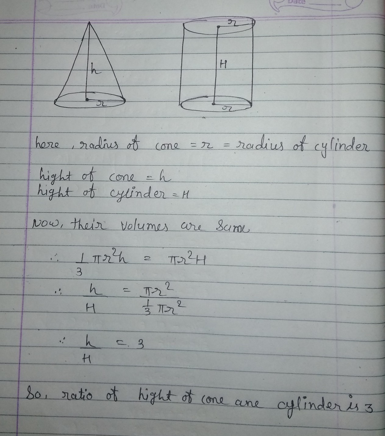 A Cone And Cylinder Are Having Equal Base Radius Find The