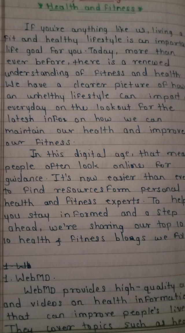 Blog Writing Health and Fitness  - Brainly.in