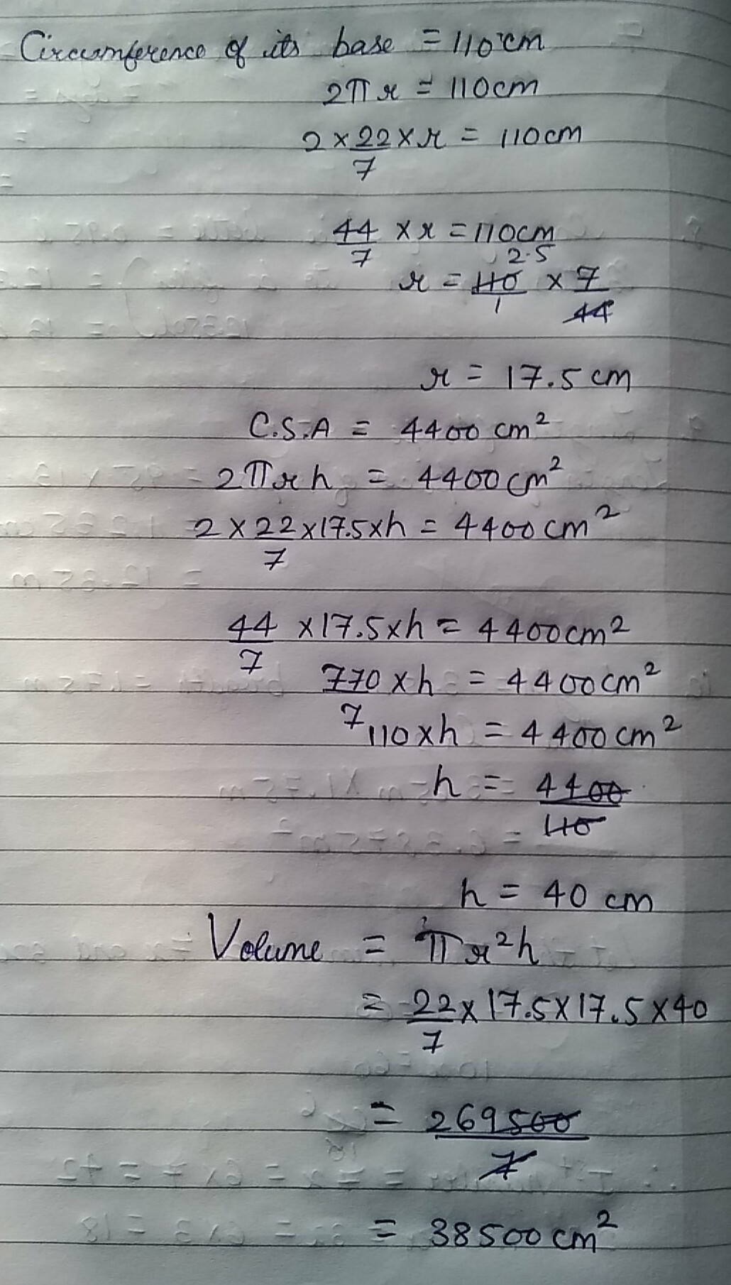 The Curved Surface Area Of A Cylinder Is Cm2 And The