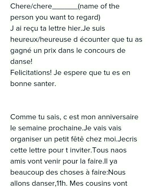 I Want To Write An Invitation Inviting Your Friend For Your Birthday Party In French Brainly In
