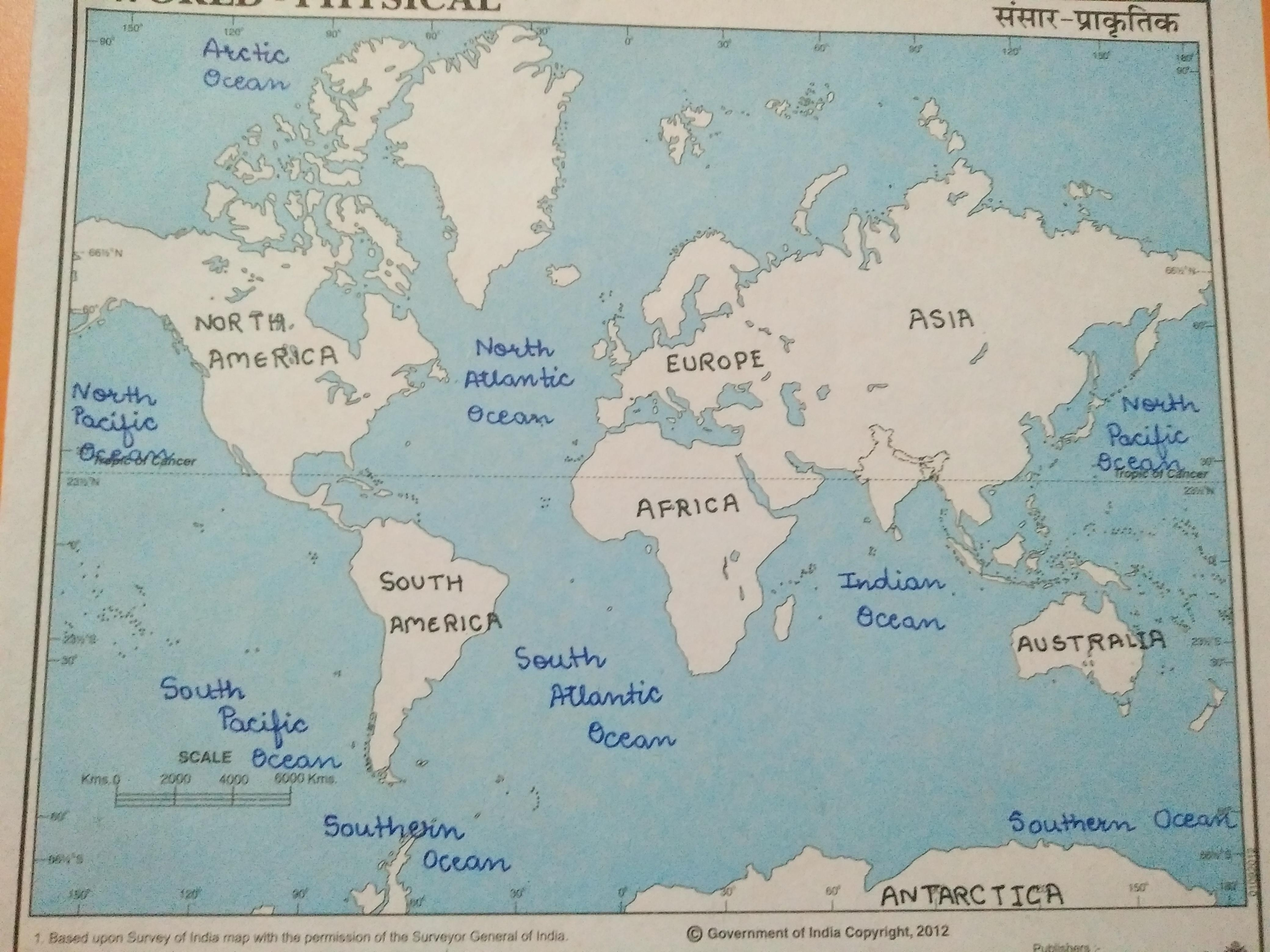 World Map Mark All Continents And Oceans In The World Map Brainly In