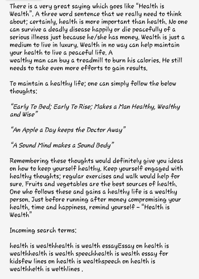 essay on health is wealth  applydocoumentco