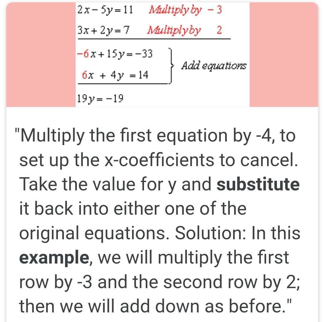 Elimination And Substitution Method Example