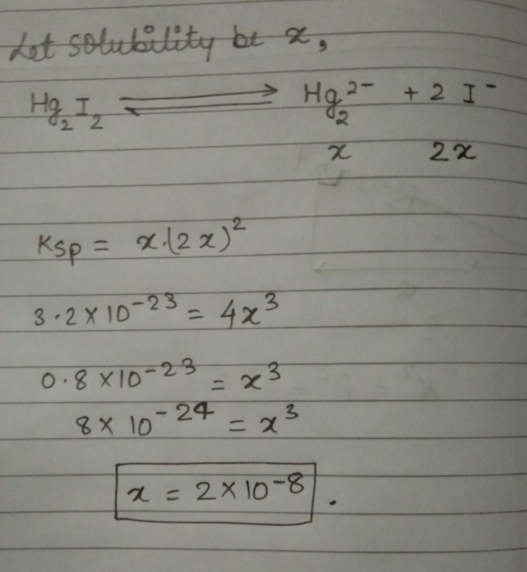 If Ksp Of Hg2i2 Is 3 2 P 10 23 Then Its Solubility Is