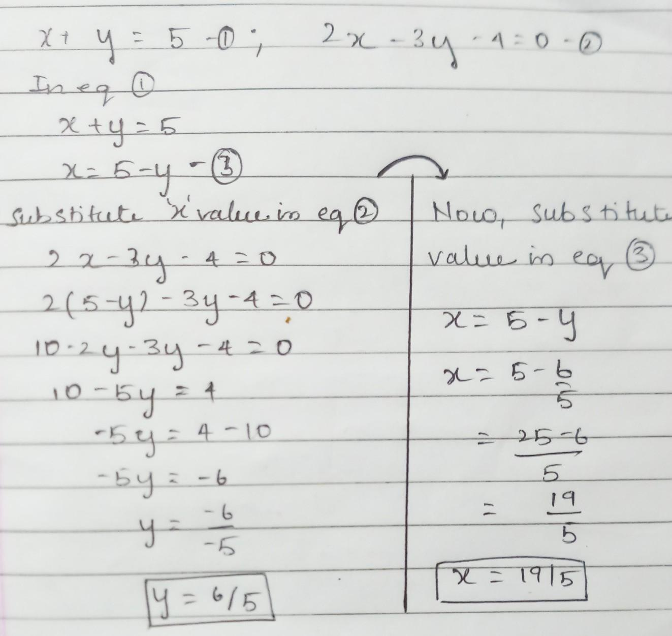 Solve The Following Pair Of Linear Equation By