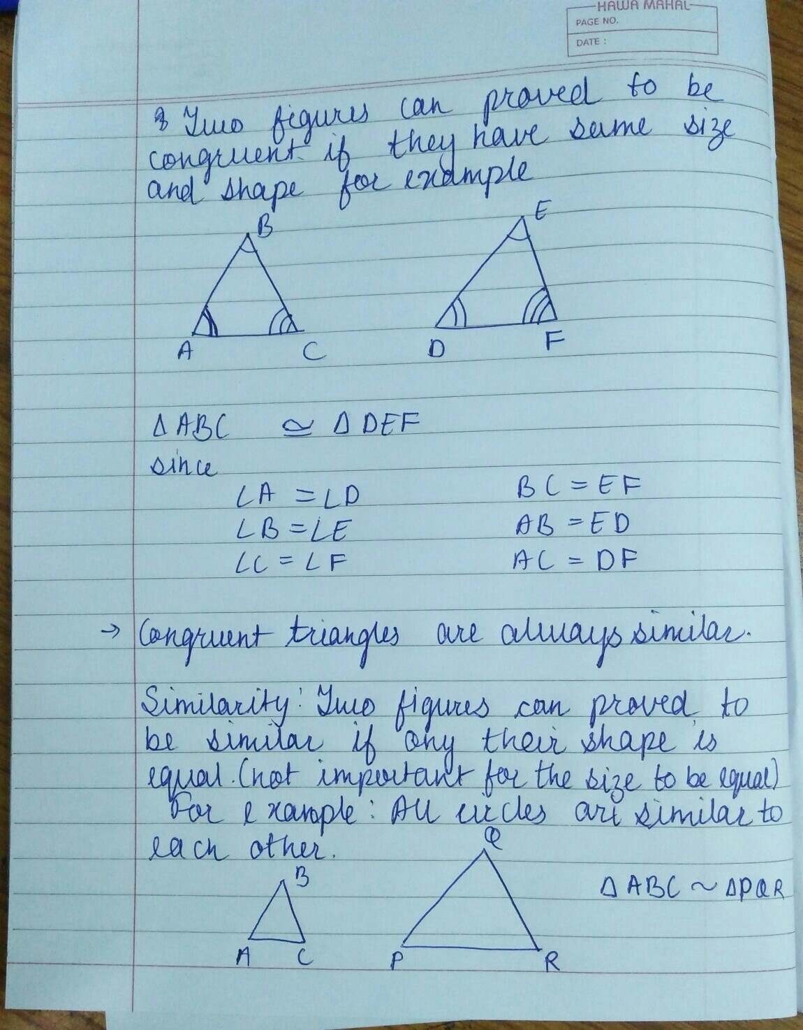 What Is The Difference Between Congruent And Equal