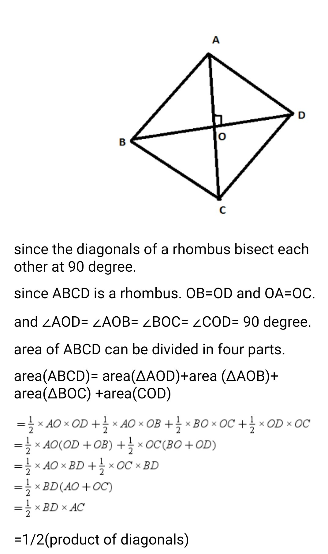 Prove That Area Of A Rhombus Is Half The Product Of Its