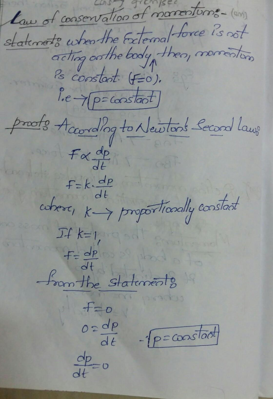 State The Law Of Conservation Of Momentum And Prove Its