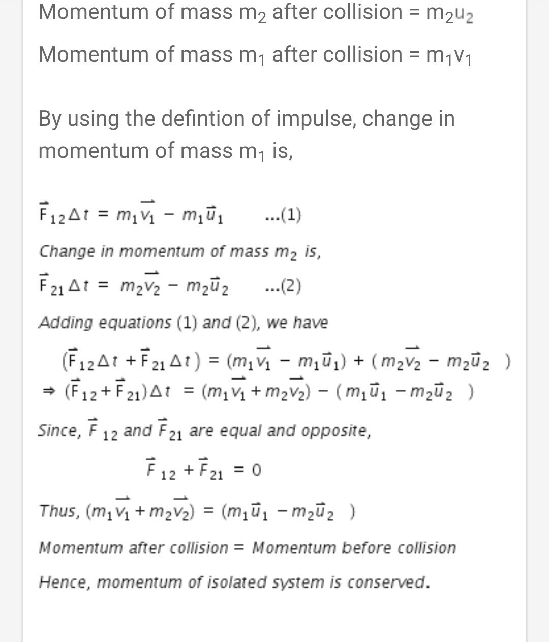 State The Law Of Conservation Of Momentum Prove The Law