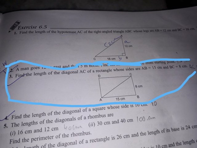 find the find the length of a diagonal AC of a rectangle whose
