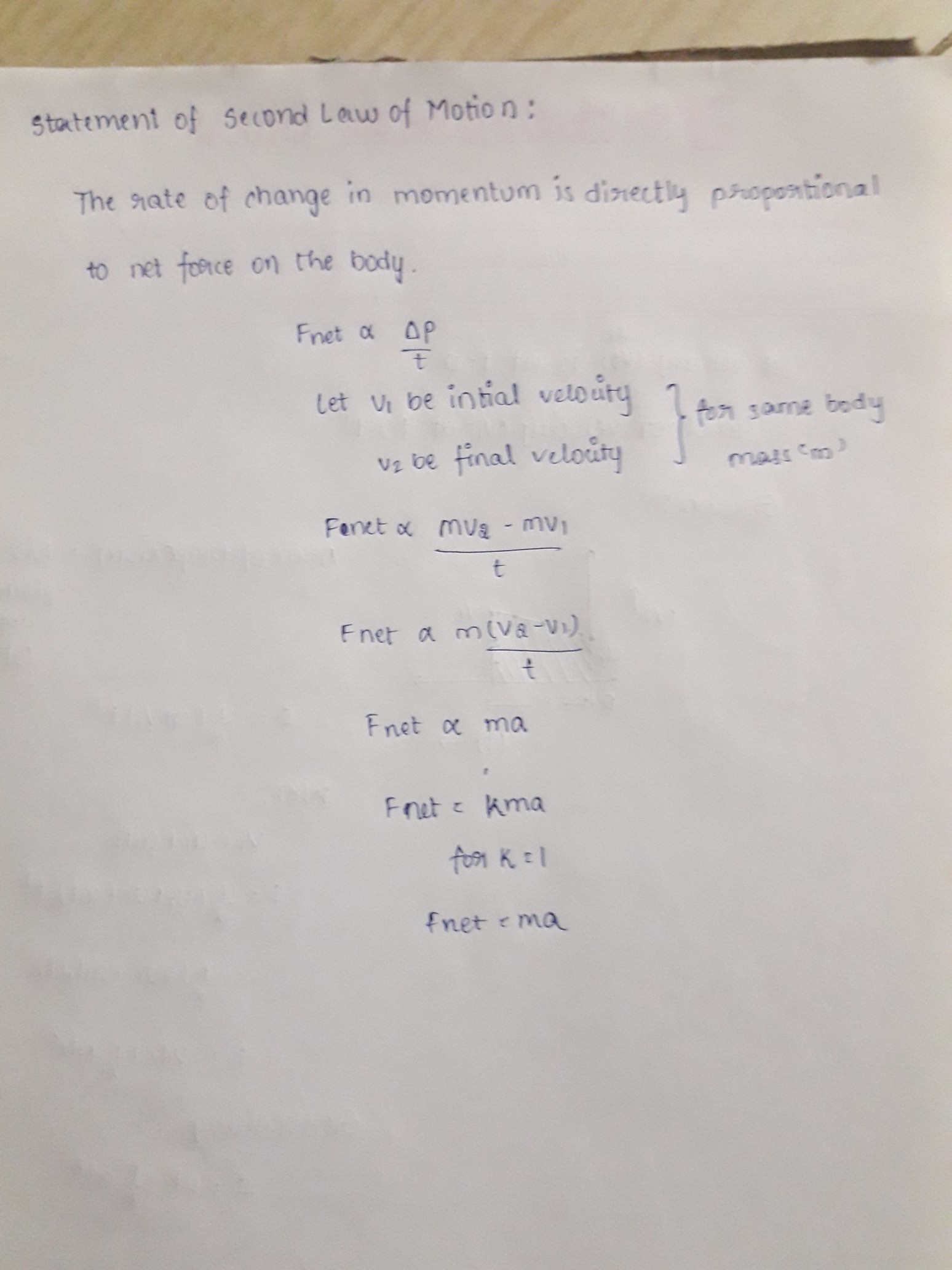 State The Second Law Of Motion And Derive Equation F Ma