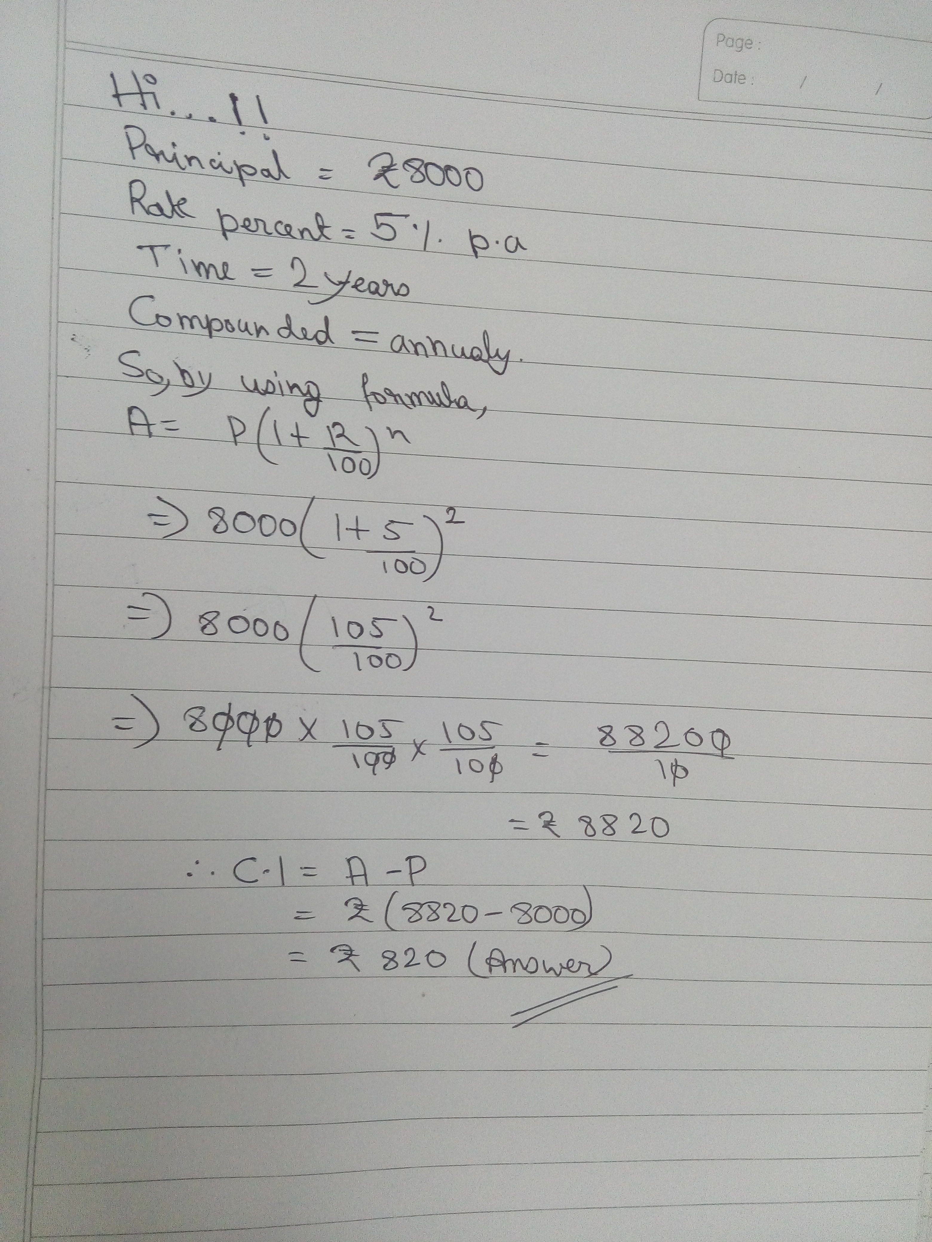Find The Compound Interest On The Sum Of Rs At 5 Per