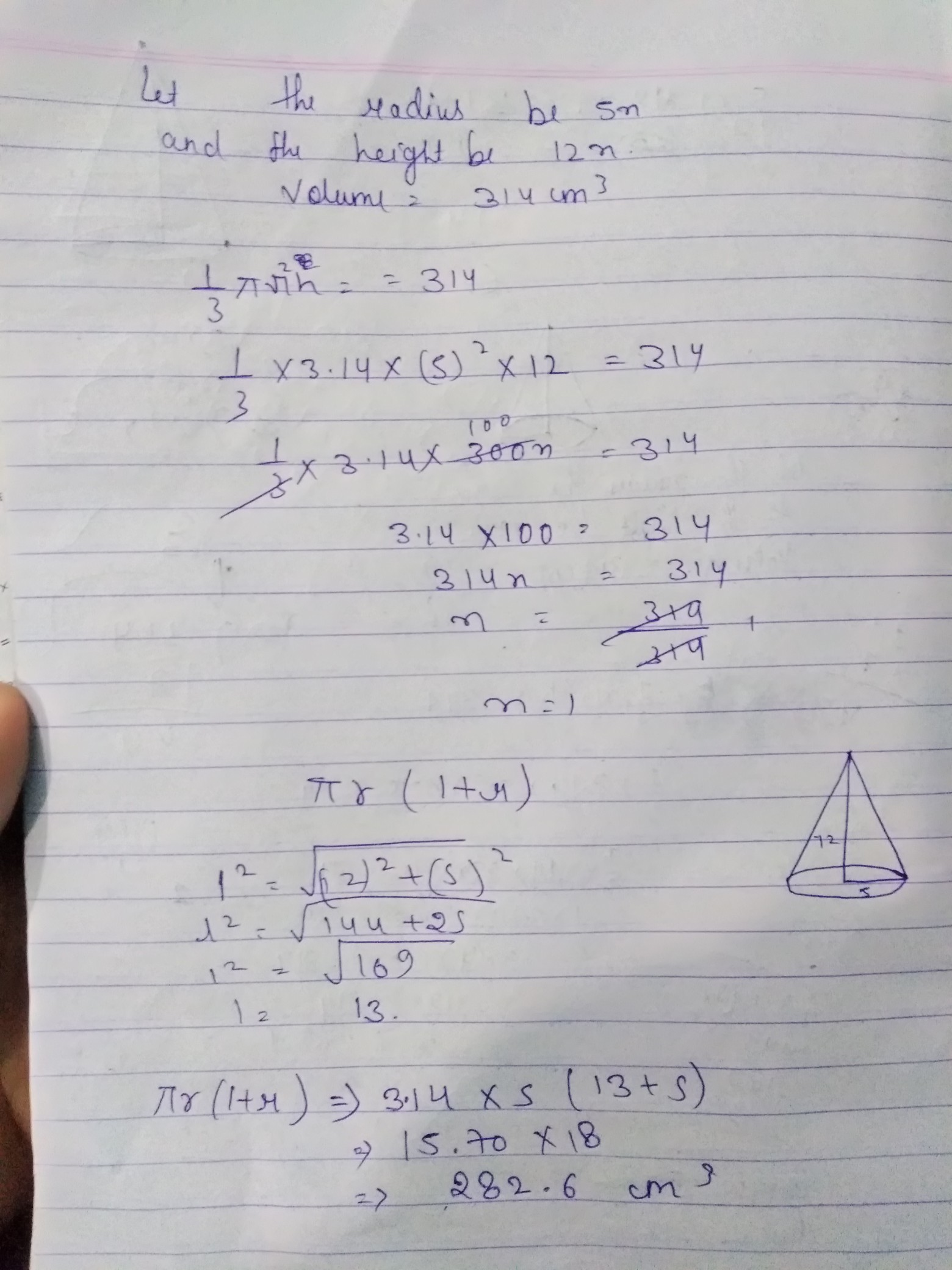 The Radius And Height Of A Solid Right Circular Cone Are