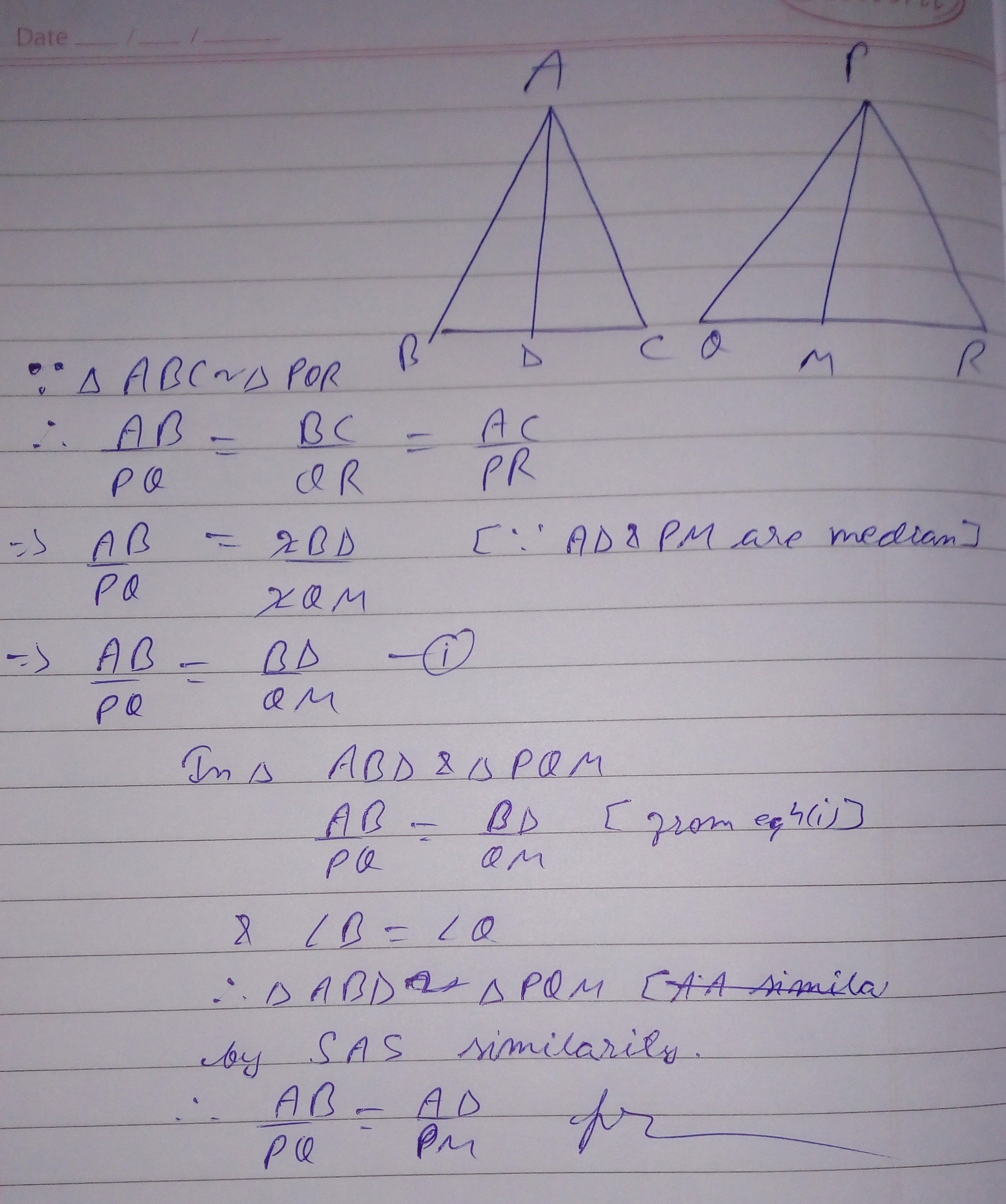 If Ad And Pm Are Medians Of Triangles Abc And Pqr
