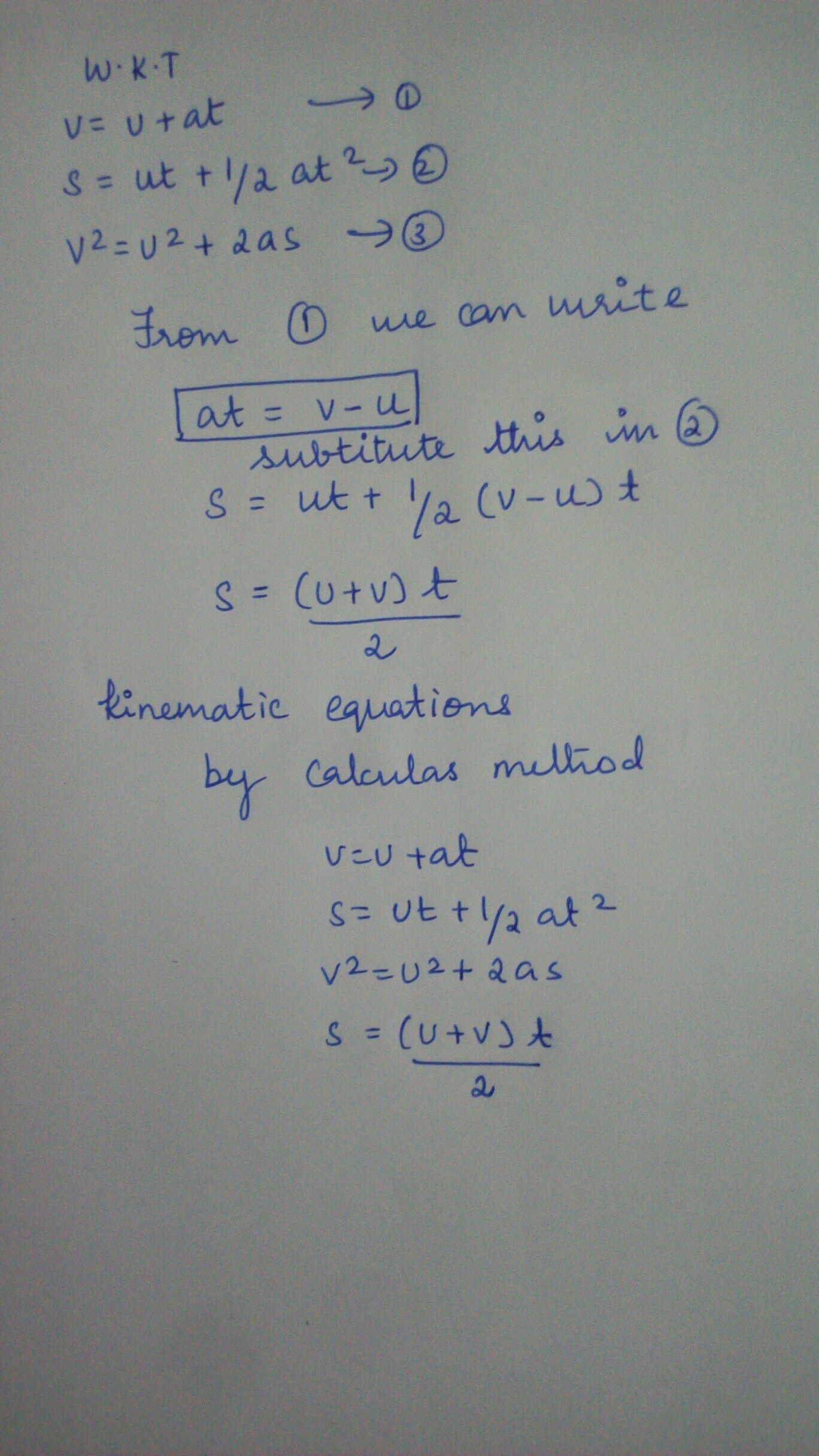How To Derive The 4th Equation Of Motion By Calculus
