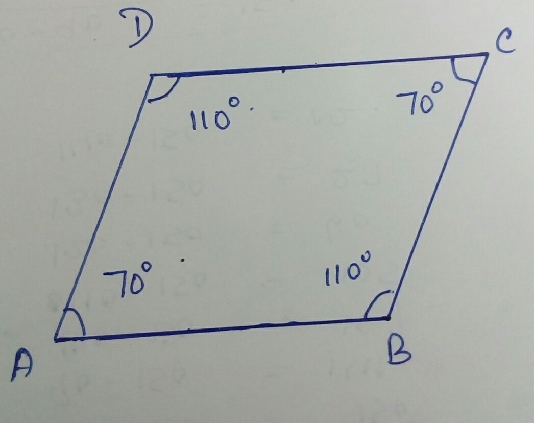 The Measure Of One Angle Of A Parallelogram Is 70 Find