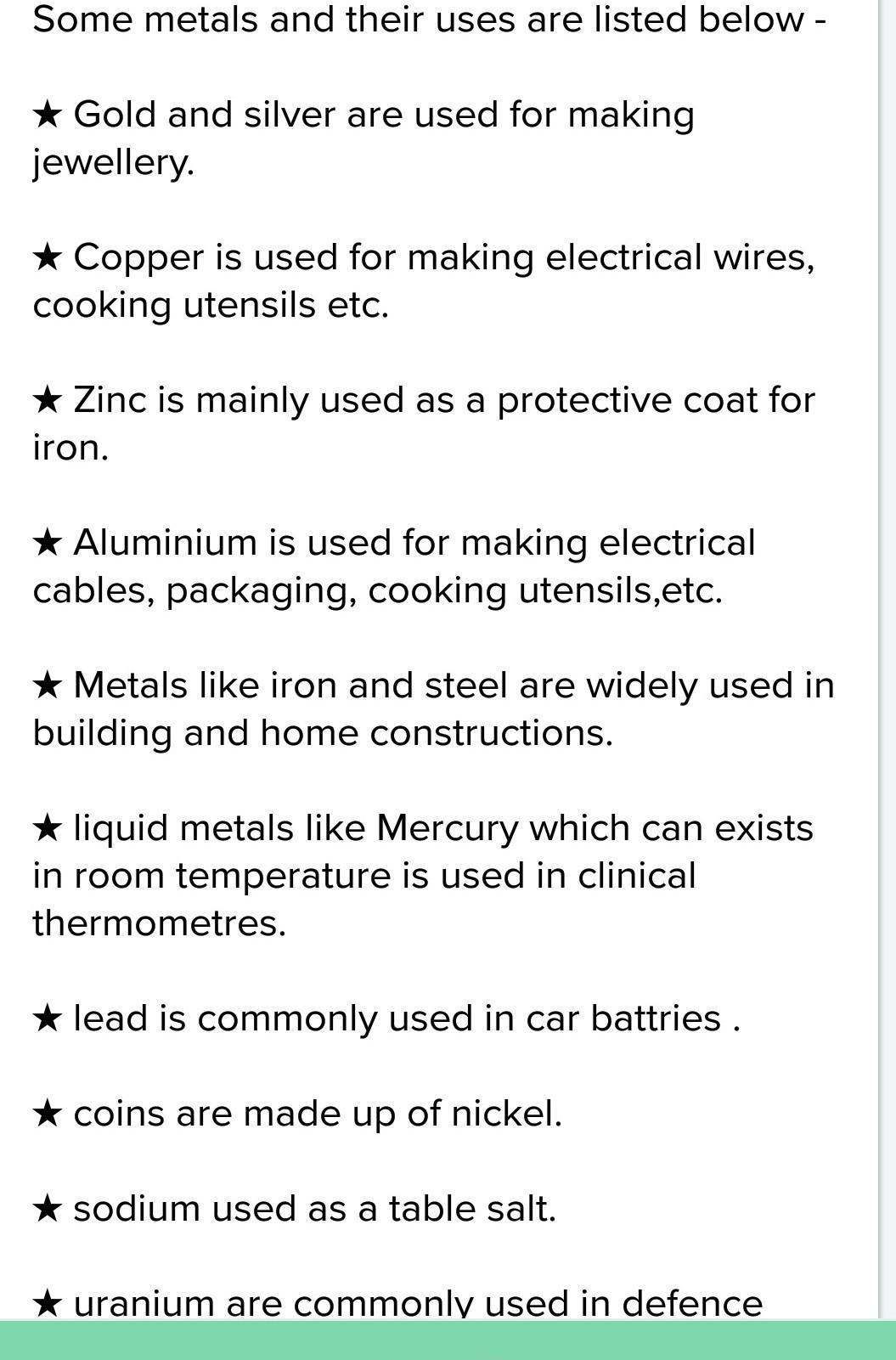 Uses Of Metals And Non Metals In Daily Life