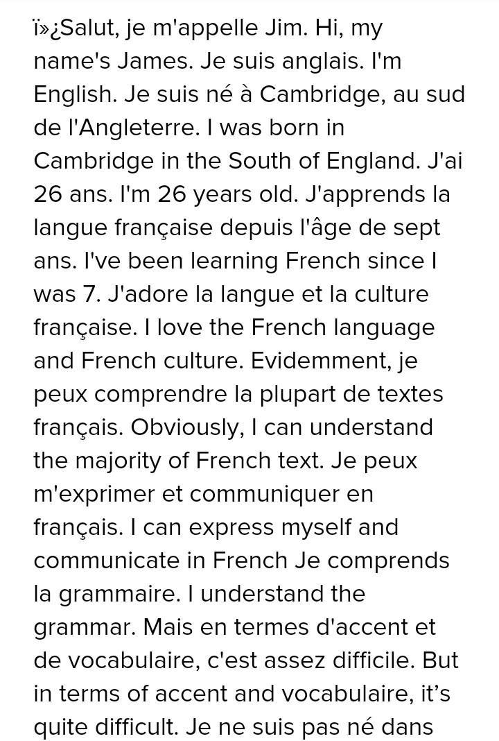 Essay On Myself In French And The English Meaning Brainly In
