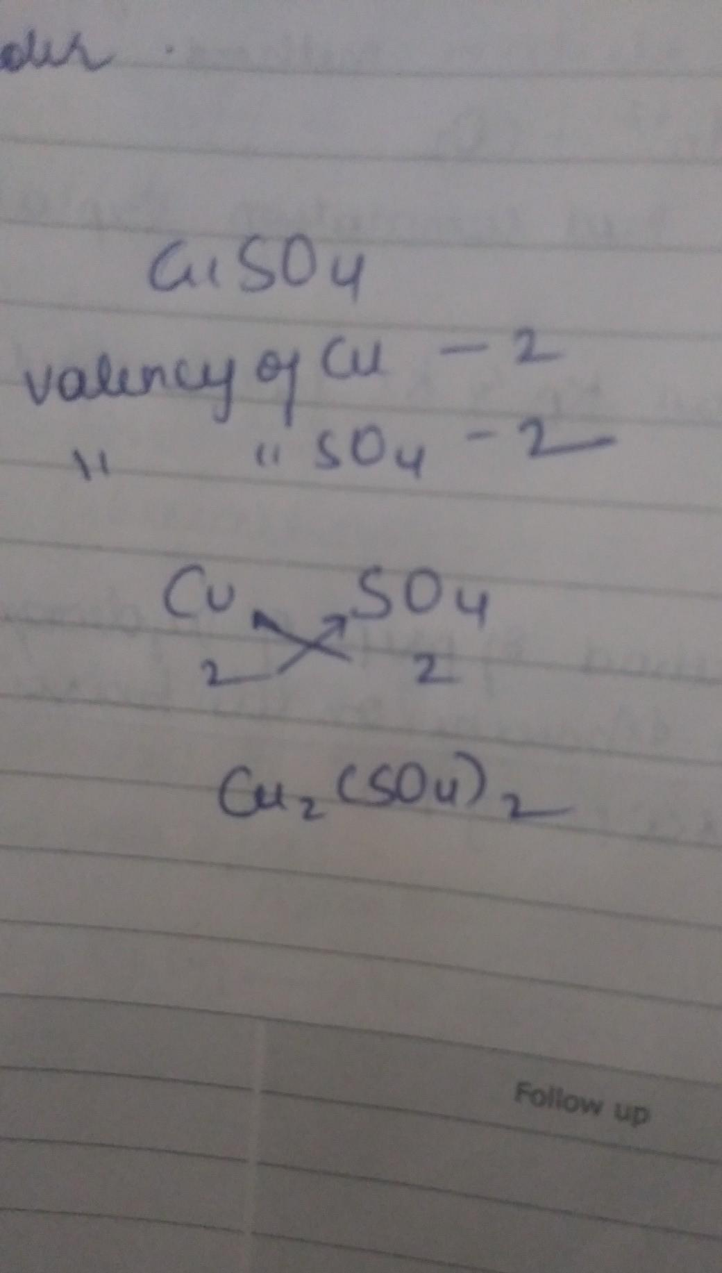 Chemical Formula Of Copper Sulphate By Criss Cross Method