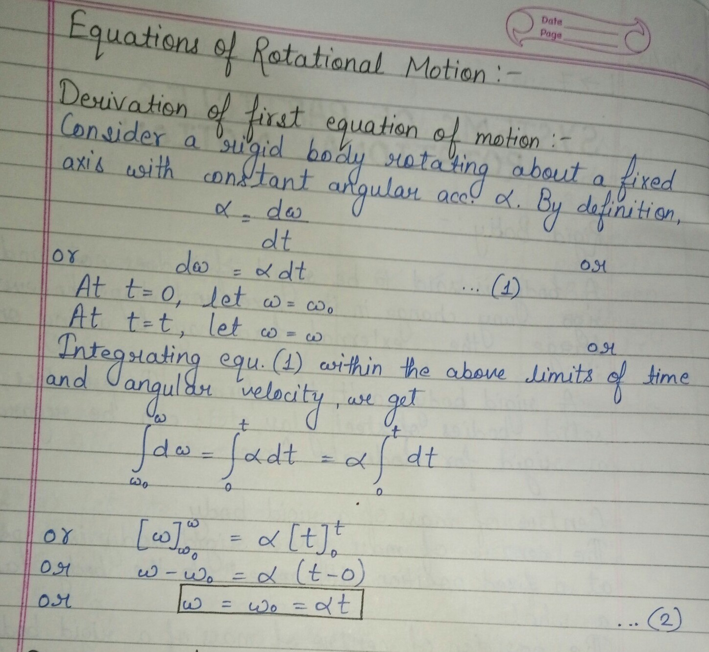 Equations Of Motion Definition