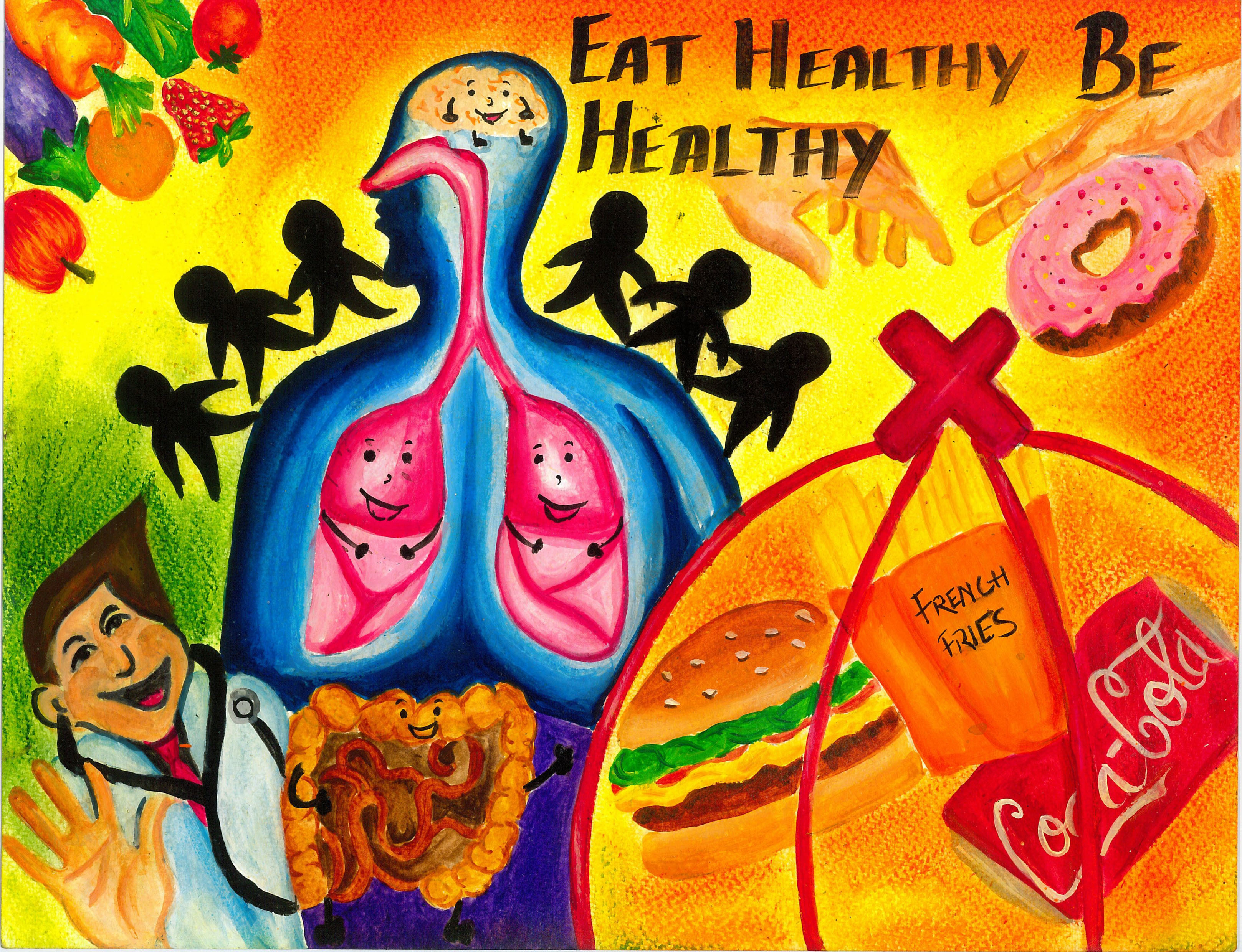 Make A Colourful Poster On Health Is Wealth 20 Points