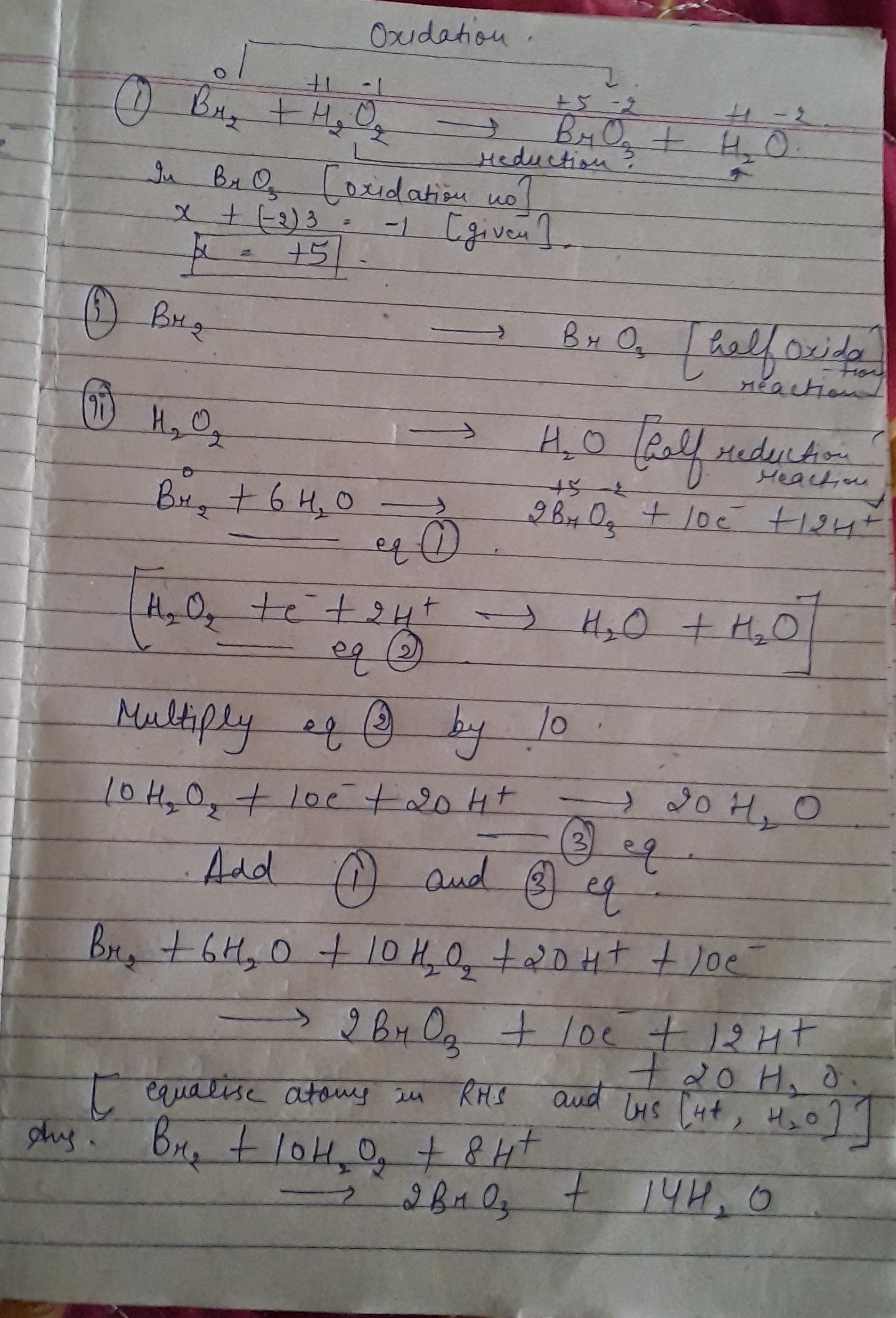 Balance The Following Equation 2 Br2 H2o2 Bro3