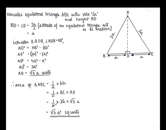 Find the area of an equilateral triangle of each side 16a units