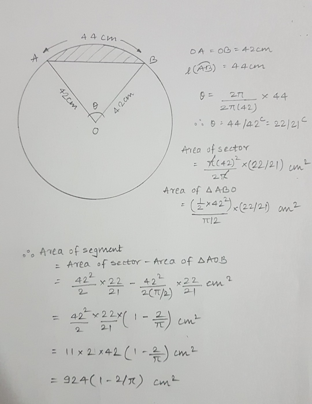 Find The Area Of The Minor Segment Of A Circle Of Radius