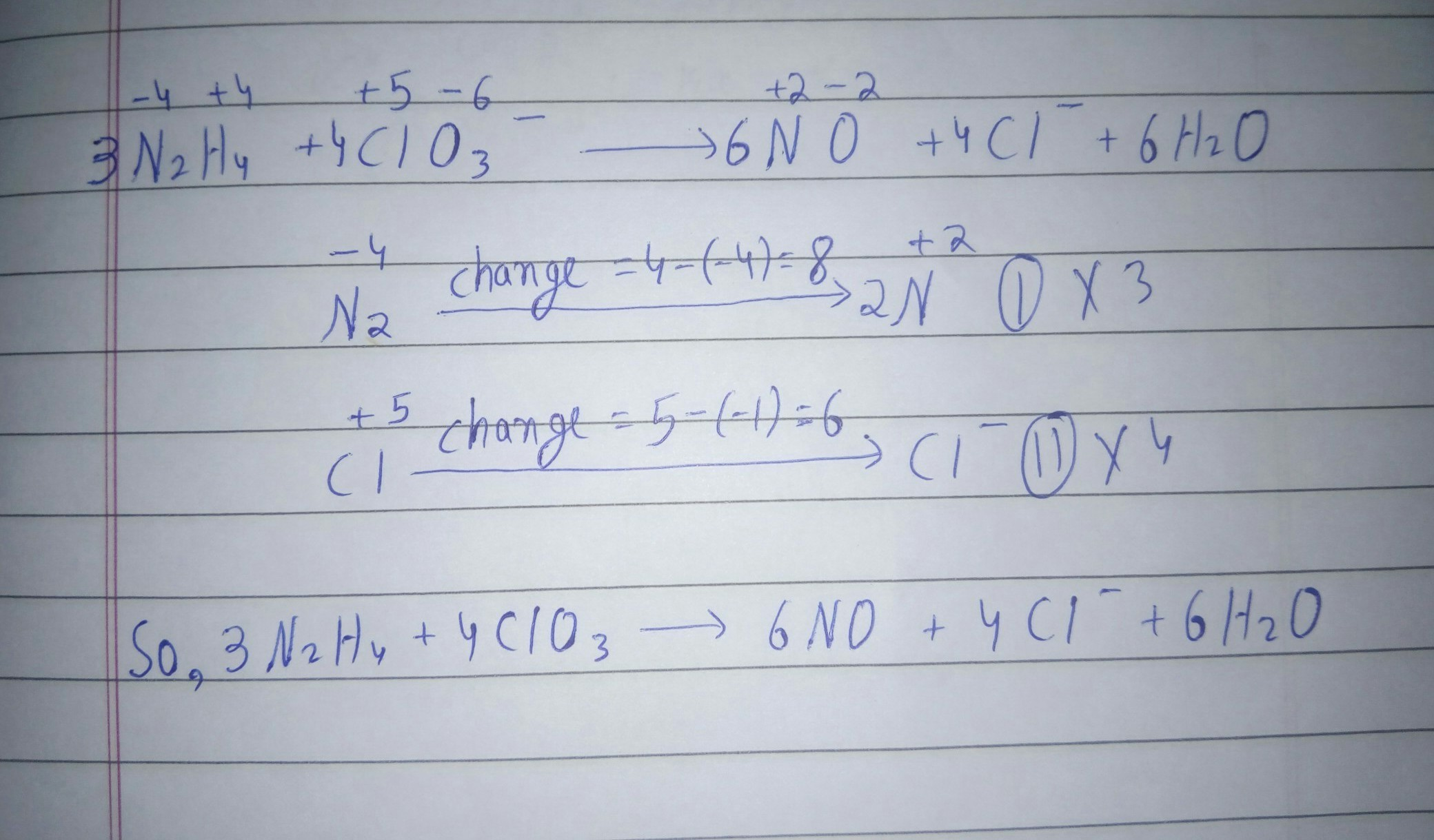 Balance The Equation By Oxidation Number Method N2h4